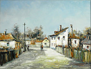 Citizen Painting Framed Prints - Village Lane Framed Print by Petrica Sincu