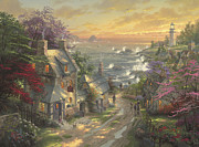 Beach Cottage Framed Prints - Village Lighthouse Framed Print by Thomas Kinkade