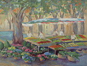 Provence Village Framed Prints - Village Market of Cucuron Framed Print by Linda  Wissler