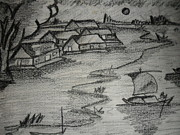 Bamboo House Drawings - Village by Nur muhammad Salman bari