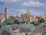 Olive Oil Originals - Village of Lourmarin  by Linda  Wissler