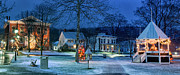Night Scenes Posters - Village of New Milford - Winter Panoramic Poster by Thomas Schoeller