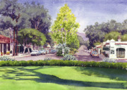 Eucalyptus Paintings - Village of Rancho Santa Fe by Mary Helmreich