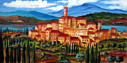 Toscana Paintings - Village on the lake by Roberto Gagliardi
