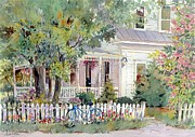 New England Village  Paintings - Village Porch by Sherri Crabtree