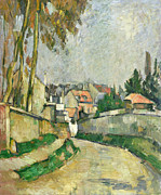 Street Framed Prints - Village Road Framed Print by Paul Cezanne