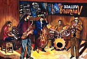 Lino Mixed Media - Village Vanguard by Everett Spruill