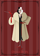 Disney Prints - Villains Trading Card-Cruella De Vil Print by Christopher Ables