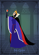 Disney Digital Art Framed Prints - Villains Trading Card-Evil Queen Framed Print by Christopher Ables