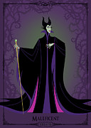 Disney Digital Art Framed Prints - Villains Trading Card-Maleficent Framed Print by Christopher Ables