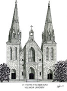 Famous University Buildings Drawings Art - Villanova University by Frederic Kohli