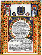 Orthodox Drawings Originals - Villefranche Menorah Ketubah by Esther Newman-Cohen