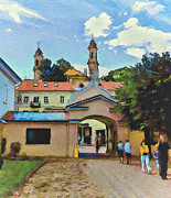Old Town Digital Art Framed Prints - Vilnius Monastery Gate Framed Print by Yury Malkov