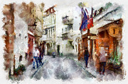 Vilnius Old Street Walk 1 Print by Yury Malkov
