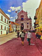 Lithuania Framed Prints - Vilnius Old Town 12 Framed Print by Yury Malkov