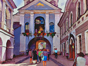 Old Town Digital Art Framed Prints - Vilnius Old Town Golden Gate 2 Framed Print by Yury Malkov