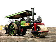 Road Roller Posters - Vinatge Steam Roller Poster by Tom Conway