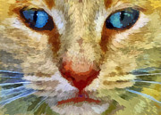 Cute Cat Digital Art Posters - Vincent Poster by Michelle Calkins