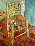 Impasto Posters - Vincents Chair 1888 Poster by Vincent van Gogh