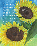 Blue Flowers Painting Posters - Vinces Sunflowers 1 Poster by Debbie DeWitt