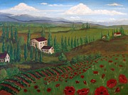 Canvas Wine Prints Prints - Vine Country Print by Valerie Greene