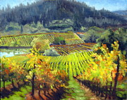Autumn Vineyards Paintings - Vines Pond and Hills by Char Wood