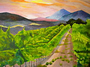Grapevines Paintings - Vineyard At Sunrise - Napa Sonoma Region - Original Painting in Gallery Profile by Louisa Bryant