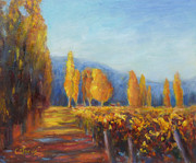 Winery Paintings - Vineyard Autumn by Carolyn Jarvis