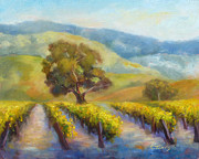 Grape Vineyards Posters - Vineyard Gold Poster by Carolyn Jarvis