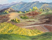 Viticulture Painting Prints - Vineyard Hills in December Print by Inka Zamoyska