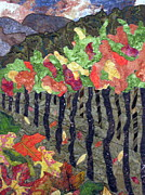 Fabric Collage Tapestries Textiles Prints - Vineyard in Autumn Print by Lynda K Boardman