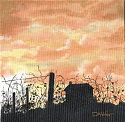 Stalls Paintings - Vineyard in Silhouette by David Wolfer