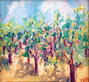 Tuscany Vineyard Oil Paintings - Vineyard in the afternoon sun by Todd Bandy