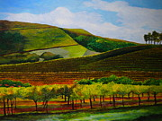 Autumn Vineyards Paintings - Vineyard by Louisa Bryant