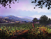Blue Grapes Digital Art Framed Prints - Vineyard Napa Sonoma Framed Print by Robert Foster