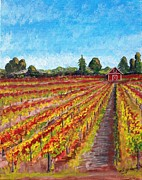 Sonoma Painting Prints - Vineyard on Dry Creek Road Print by Harlan Gilbert