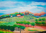 Grapevines Paintings - Vineyard - Original Acrylic Painting on Belgian Linen - Standard Profile by Louisa Bryant