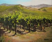 Grapevines Painting Originals - Vineyard Summer by Karen Ilari