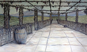 Winery Paintings - Vineyard walkway by Kally Wininger