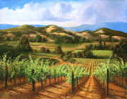 Grapevines Paintings - Vineyards in the Valley by Gail Salituri