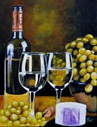 Grapes Painting Posters - Vino and Cheese Poster by Shirl Theis