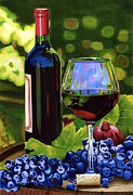 Glass Bottle Drawings Framed Prints - Vino Framed Print by Cory Still