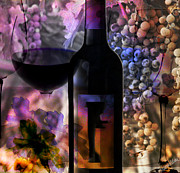 Red Wine Bottle Posters - Vino Poster by M Montoya Alicea