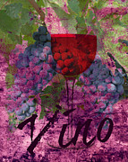 Food And Drink Mixed Media - Vino by Mindy Bench
