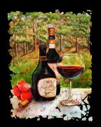 Wine Vineyard Mixed Media Prints - Vino Print by OLena Art