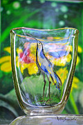 Owl Glass Art Posters - Vinsanchi Glass Art-2 Poster by Vin Kitayama