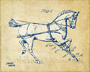 Drawn Prints - Vintage 1900 Horse Hobble Patent Artwork Print by Nikki Smith