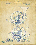 Band Digital Art - Vintage 1914 French Horn Patent Artwork by Nikki Marie Smith