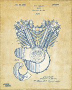 1920 Digital Art Metal Prints - Vintage 1923 Harley Engine Patent Artwork Metal Print by Nikki Marie Smith