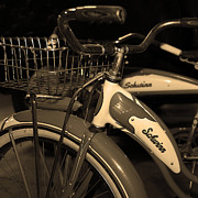 Wingsdomain Art and Photography - Vintage 1941 Boys and 1946 Girls Bicycle 5D25760 Square Sepia1